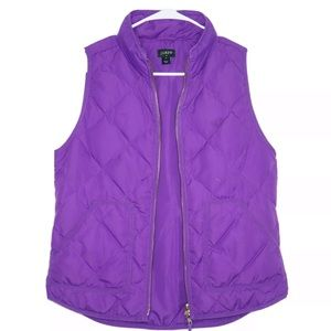 J. Crew purple puffer vest with pockets size S